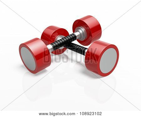 Red Dumbells Isolated On White