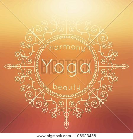 Vector Yoga Illustration. Yoga Poster With Floral Ornament And Blurred Backdrop.