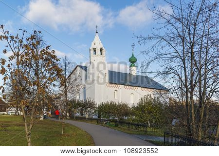 Suzdal, Russia -06.11.2015. Refectory with Conception church was built at  16th century. Golden Ring