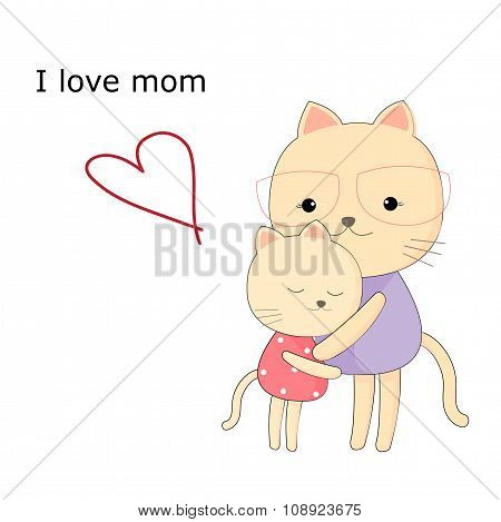 Greeting card for mom with cute animals