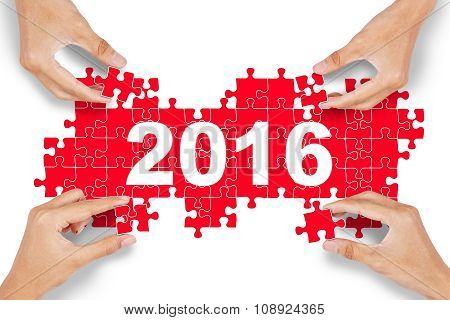 Hands Arrange Puzzle With Numbers 2016