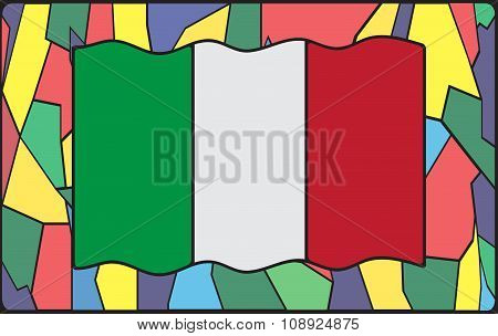 Italian Flag On Stained Glass