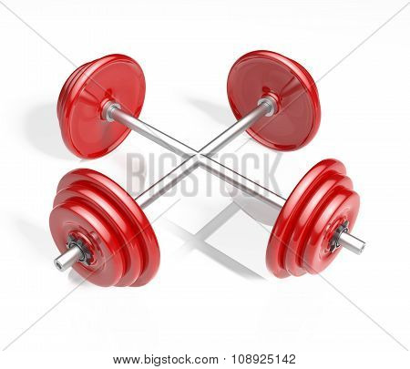 Two Red Barbells Crossing