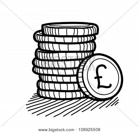 Stack of Coins Doodle (Pound Sterling)