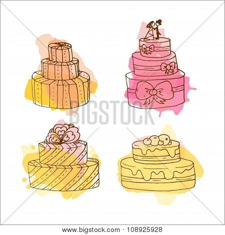 Vector Cake Illustration. Set of Hand Drawn Cakes With Colorful Watercolor Splashes. Wedding Cakes