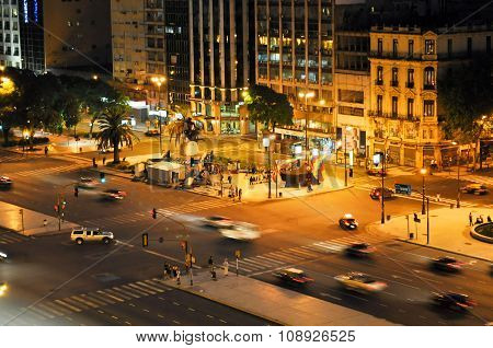 9 De Julio Avenue In Buenos Aires At Night