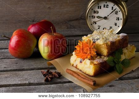 Three Harvested Apples And Fresh Cake