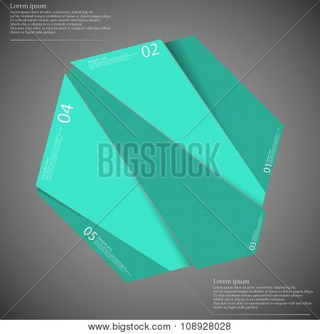 Hexagon Motif Randomly Divided To Five Green Parts On Dark