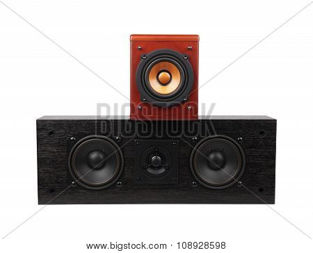Vintage loudspeakers on white