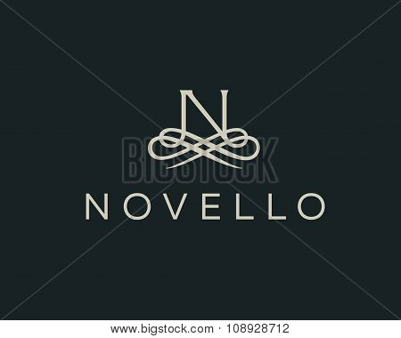 Abstract monogram elegant flower logo. Premium letter N initials icon .