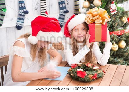 Happy children preparing for New Year and Christmas celebration