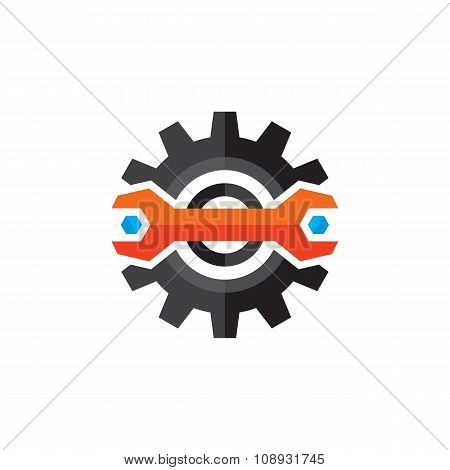 Gear vector logo. Gear and wrench icon sign in flat style design. Gear flat icon.