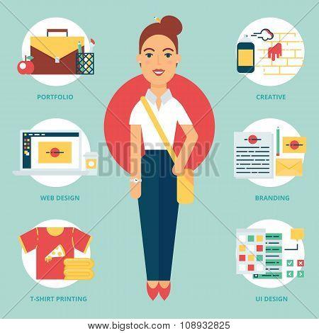 Profession: Designer. Vector Illustration, Flat Style