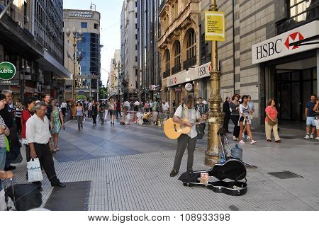 Musician On The Florida Street In Buenos Aires