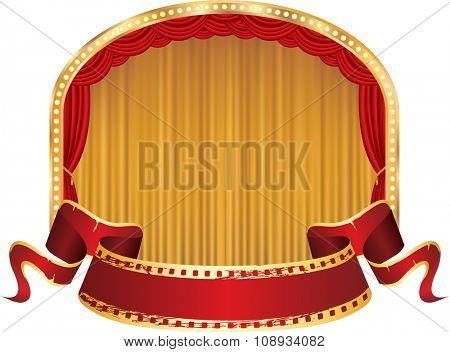 vector perforated red blank banner on ellipse stage with red and golden curtain