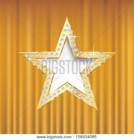 golden star on golden velvet with diamond screws,vector template for cosmetics, show business or something else