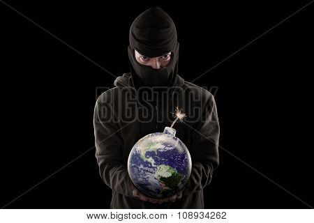 Terrorist Holding Bomb With Globe