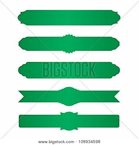 Set Of Green Vector Borders And Banners