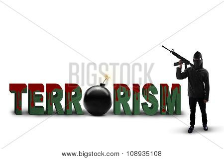 Terrorist With A Text Of Terrorism