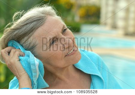 Senior woman at resort vacation