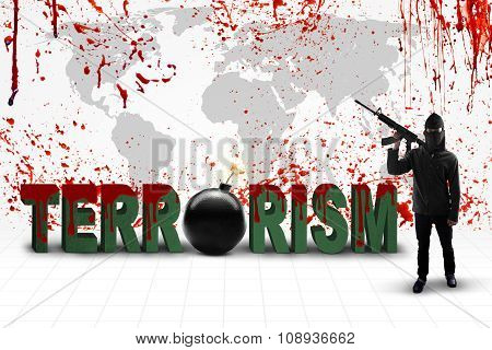 Man With Terrorism Text And Bloody Map