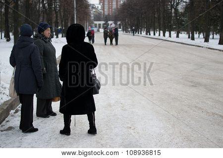 Women Waiting In The Snow Ufa Russia