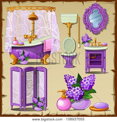 Bright card with interior objects of a bathroom in purple