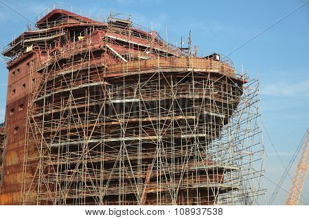 Ship Under Construction With Scaffolding