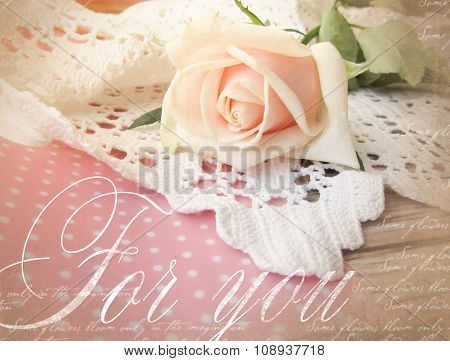 Elegant Greeting Card Design With Rose. Beautifull Background With Rose For Congratulations And Invi