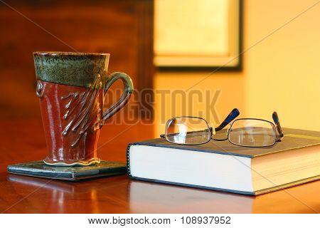 Coffee mug on desk