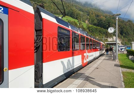 Train Passing The Alpnachstad Station