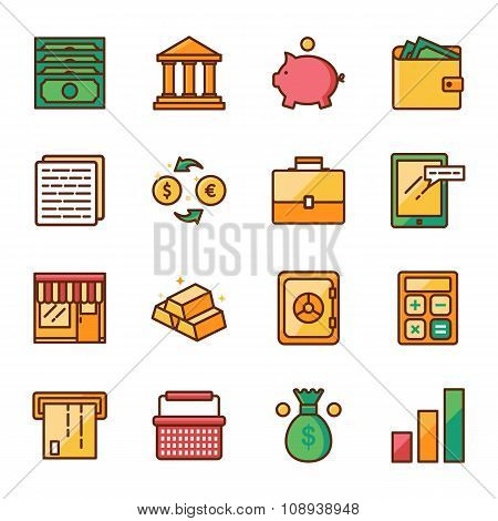 Finance And Marketing Vector Icons Set Color Line Style