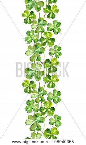 Watercolor painted strip with trefoils clover for irish Patricks day