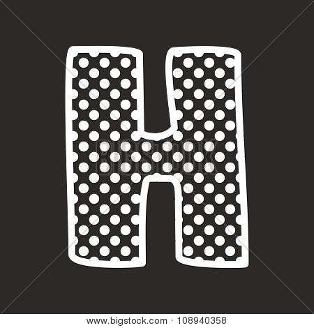 H alphabet vector letter with white polka dots on black background