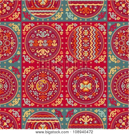Seamless patchwork pattern. Ethnic geometric print.
