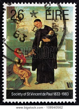 Postage Stamp Ireland 1983 Priest And Children