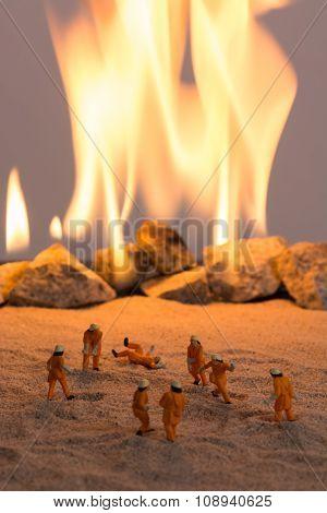 Miniature Firemen At Work