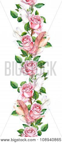 Rose flowers and feathers frame. Seamless repeating floral border. Watercolor