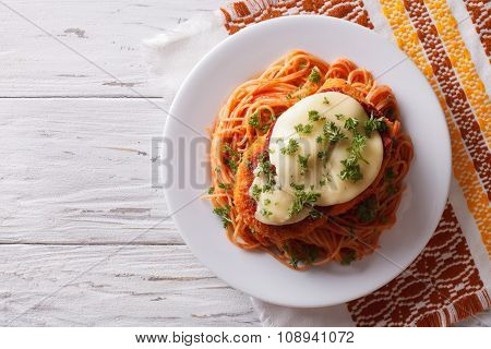 Italian Chicken Parmigiana And Pasta. Horizontal Top View