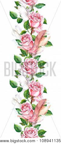 Rose flowers and feathers frame. Seamless repeating floral border
