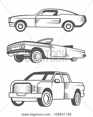 Set Of Muscle Car, Vintage Car And Pickup Truck