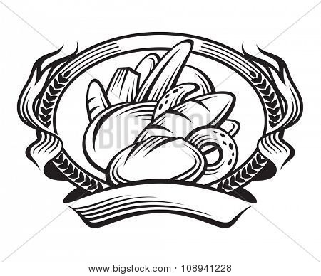 monochrome illustration of banner with bread set and ears