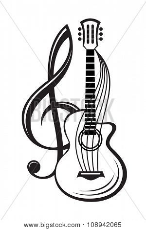 monochrome illustration of treble clef and guitar