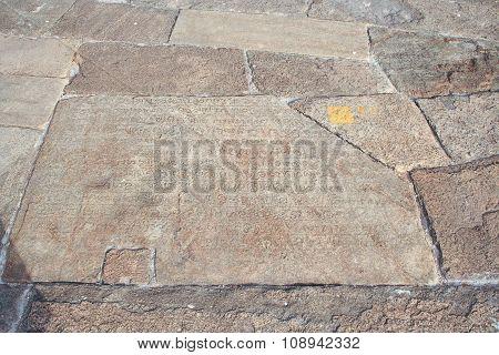 Old Historic Inscription In The Baseplates  At The Dagoba  Isurumuniya Vihara