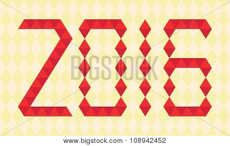 Red numbers of year 2016 made from triangles