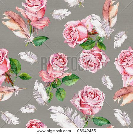 Repeating floral vintage pattern with pink rose flowers and feathers