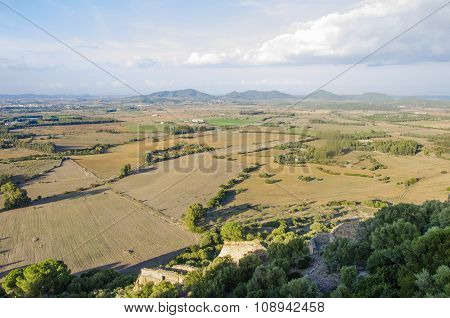 Top View Of Countryside Landscape With Agricultural Fields