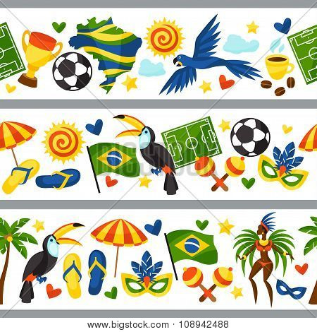 Brazil seamless borders with stylized objects and cultural symbols