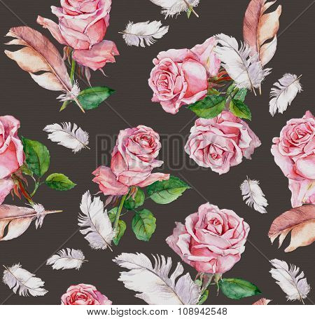 Rose flowers and feathers. Repeating floral pattern. Watercolor