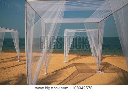 Muslin Picinic Tents On Sand Beach